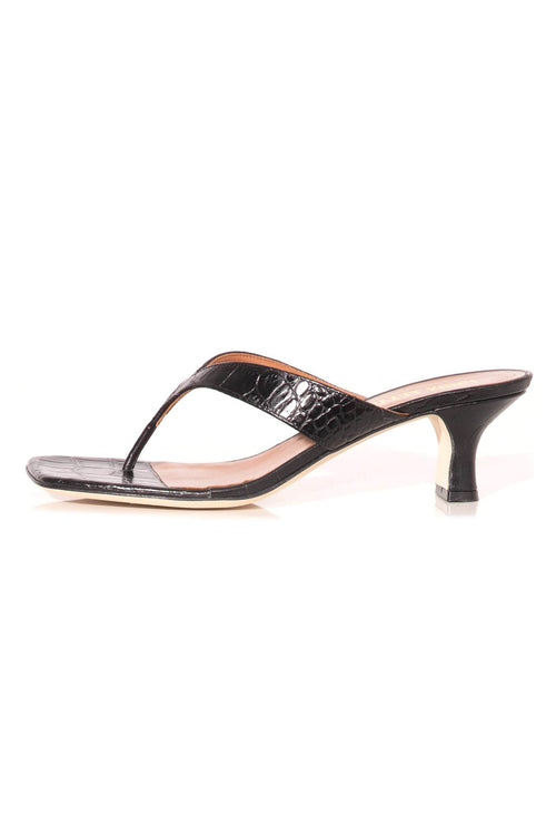 Moc Croco Thong Sandal in Black