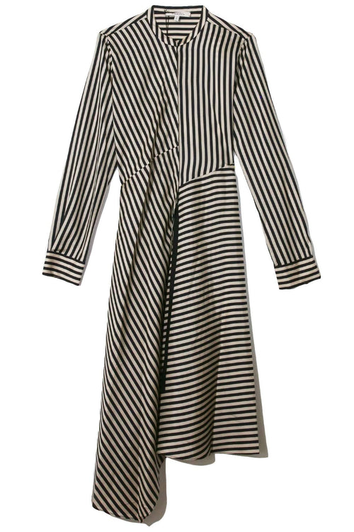 Striped Sensation Dress in Beige Black Stripes