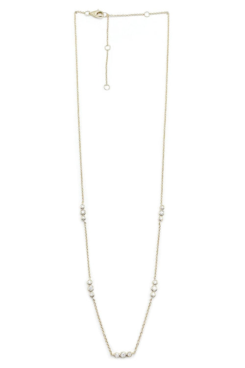 14K Gold Three Pave Dots Station Necklace