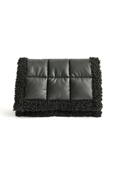Vivienne Quilt Clutch Bag in Black/Black