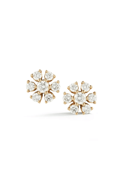Jennifer Yamina Circular Flower Studs in Yellow Gold