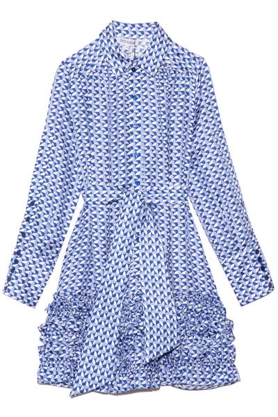 Printed Dress with Ruffle Skirt in Blue