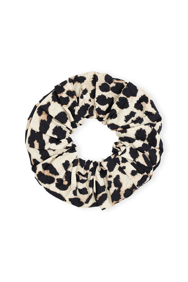 Printed Cotton Poplin Scrunchie in Leopard