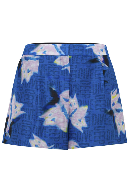 Blurry Flora Shorts in Blue Blurry Flora