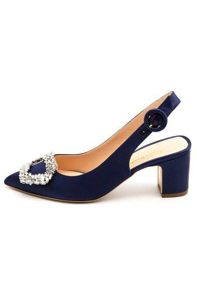Marina Satin Pump in Breton