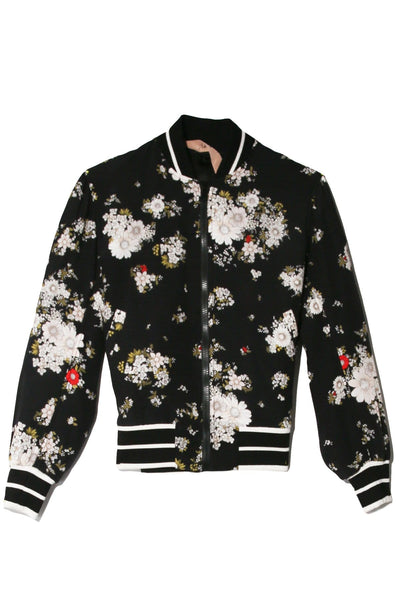 Floral Bomber Jacket in Stampa Fondo Nero