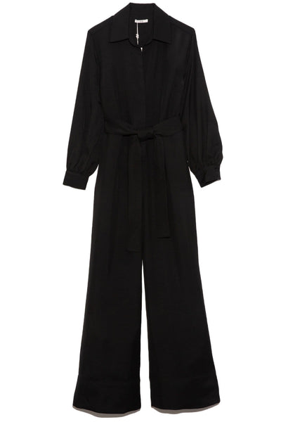 Long Sleeve Viscose Jumpsuit in Black
