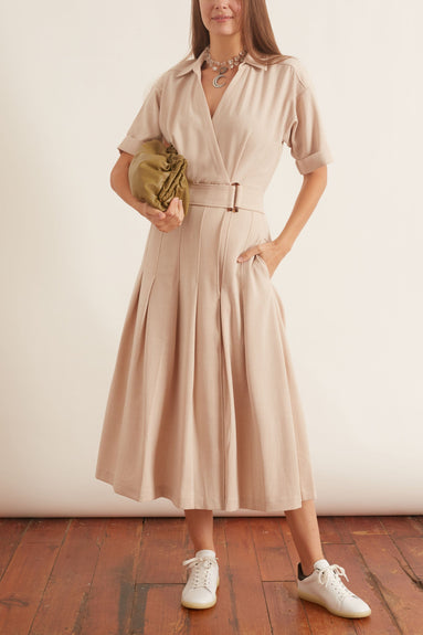 Corsica Pleated Dress in Oatmeal