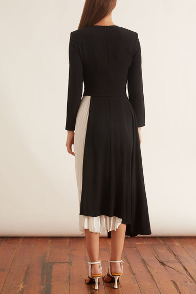 Frey Dress in Black with Buttermilk