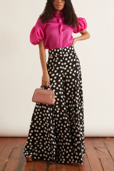 Floating Dot Wide Leg Pant in Black/White
