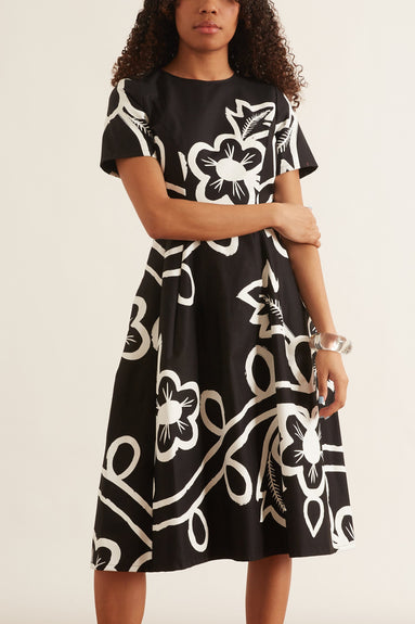 Garland Floral Cotton Dress in Black/White
