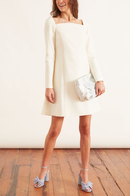 Long Sleeve Curved Neckline Mini Dress in Ivory