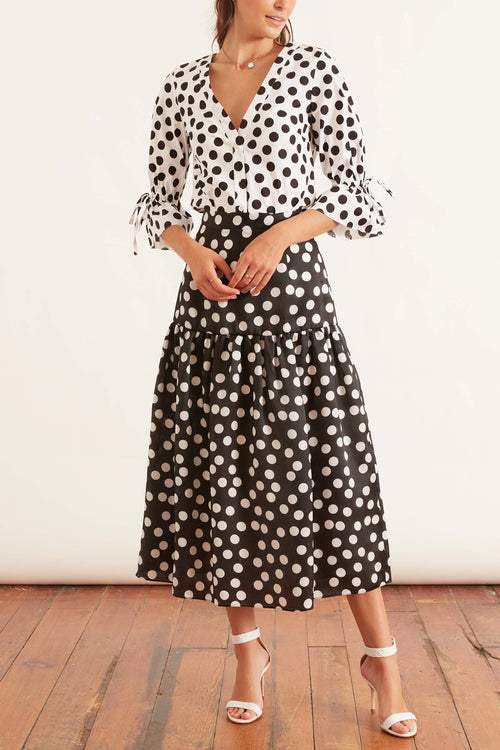 Midi Skirt with Gathered Hem in Black/White