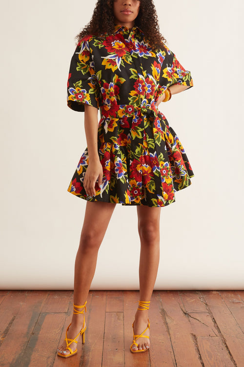 Pixel Floral Mini Shirt Dress in Black Multi