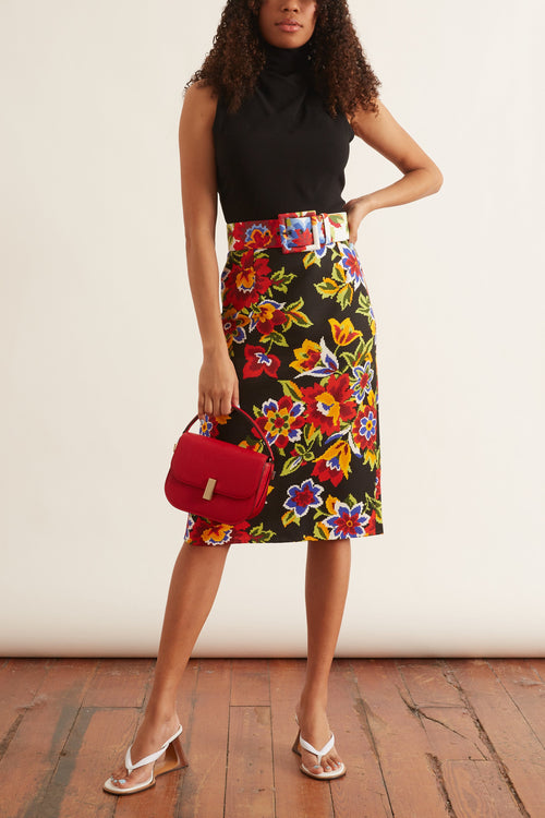 Pixel Floral Pencil Skirt in Black Multi