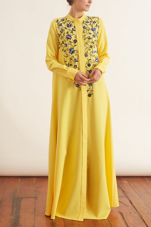 Placket Embroidered Caftan in Mimosa Multi