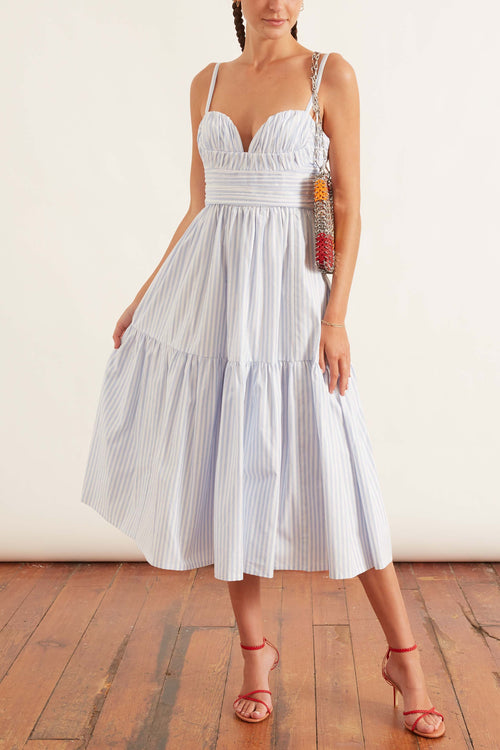 Spaghetti Strap Dress with Gathered Hem in White Multi