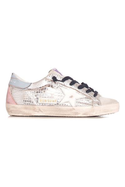 Superstar Sneaker in Silver Laminated Cocco/White Star