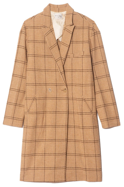 Short Wool Cotton Glen Check Coat in Cammello