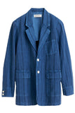 Jacket in Cotton Linen Stripe in Indigo Stripes