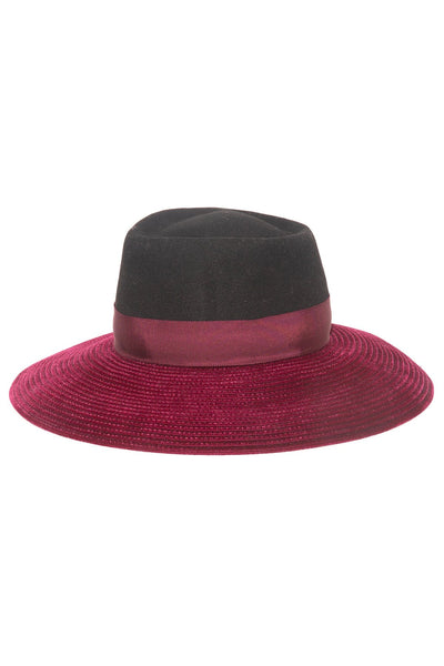 Christel Hat in Black/Bordeaux