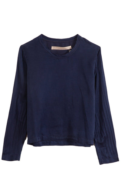 Silk Sateen Long Sleeve Top in Navy