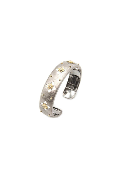 14K Gold and Sterling Silver Starburst Cuff