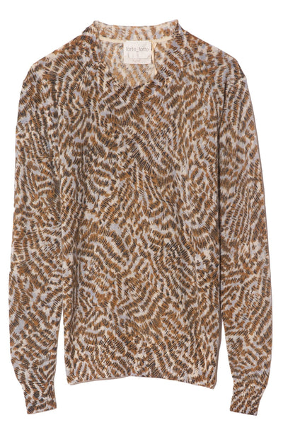 Eagle Print Cashmere Gauze Sweater in Celeste
