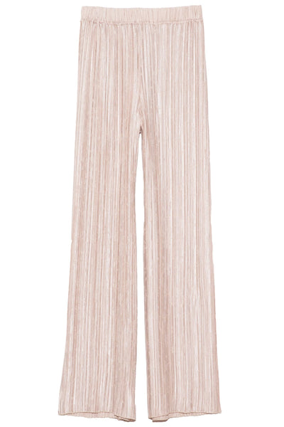 Plisse Satin Jacquard Wide Pant in Pearl