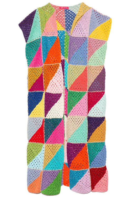 Diagonal Multicolor Sleeveless Overcoat in Multicolor