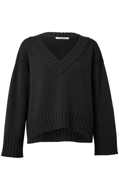 Modern Adventure V-Neck Pullover in Pure Black