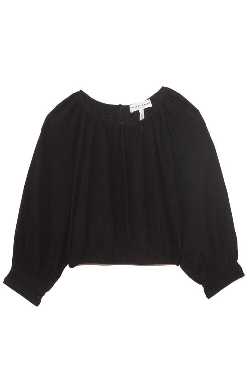 Kiran Shirred Crop Top in Black