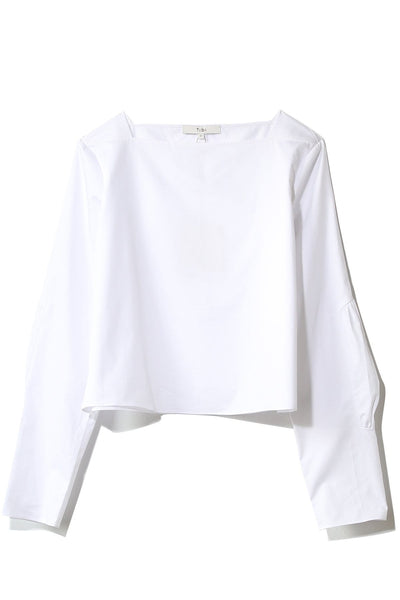 Satin Poplin Boatneck Top in White