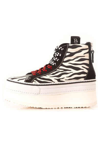 High Top Skate Platform Sneaker in Grey Zebra/Black Suede