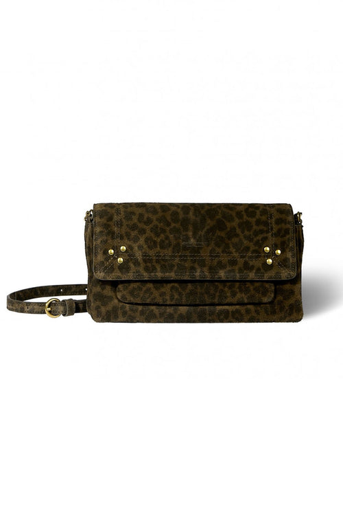 Charly Medium Split Suede Bag in Leo Khaki