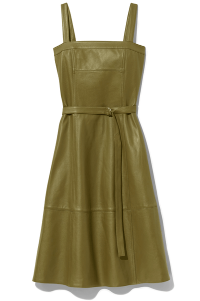 Lightweight Leather Belted Dress in Military