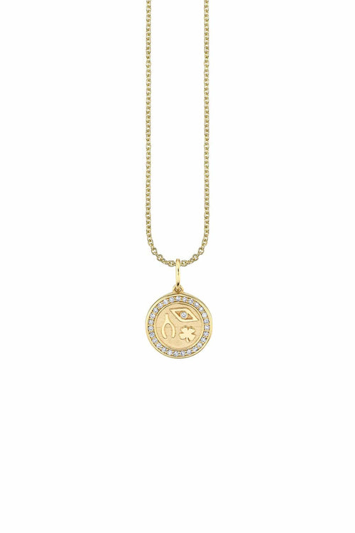 Tiny Pave Luck and Protection Coin Necklace in Yellow Gold