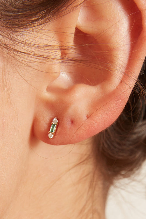 Diamond and Emerald Stud Earrings in Yellow Gold