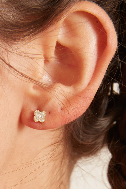 Lucky Clover Pave Diamond Earrings in Yellow Gold