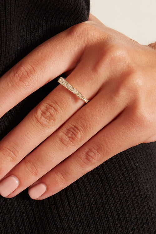 Pave Diamond Bar Ring in Yellow Gold
