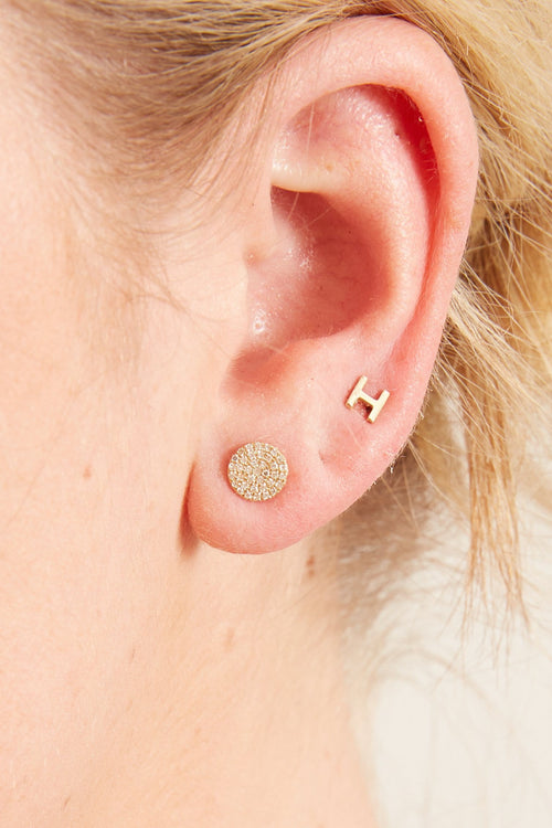 Pave Diamond Disc Earring in Yellow Gold