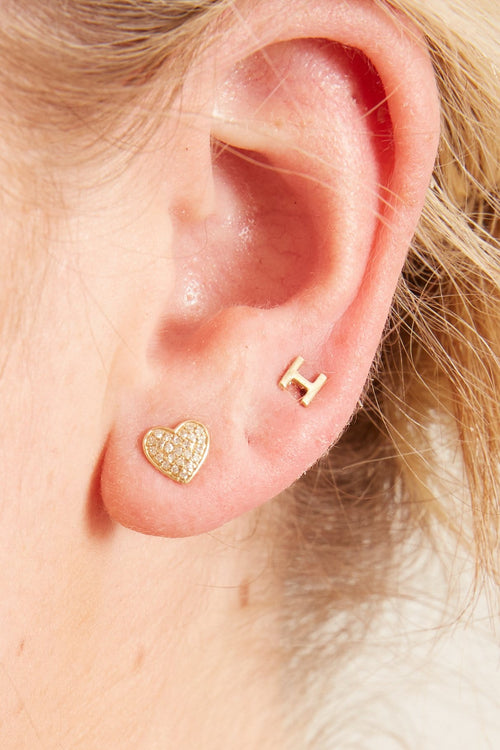 Pave Diamond Heart Earrings in Yellow Gold