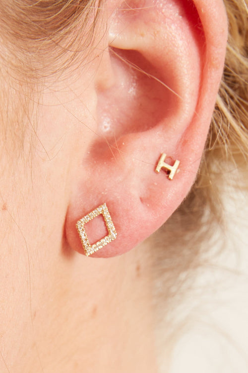 Pave Diamond Illusion Earrings in Yellow Gold
