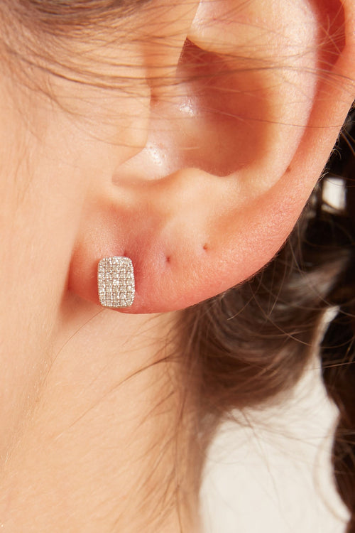Pave Diamond Rectangle Earrings in White Gold