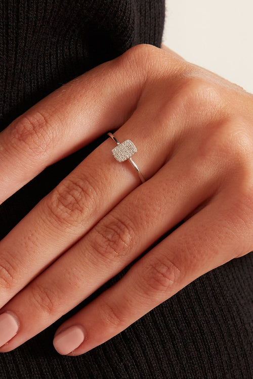 Pave Diamond Rectangle Ring in White Gold