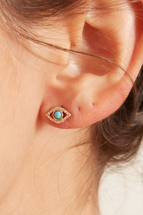 Pave Diamond and Turquoise Evil Eye Earrings in Yellow Gold