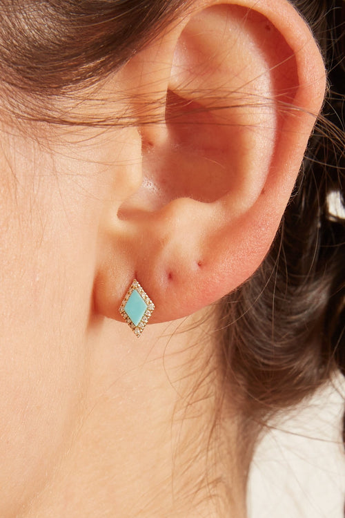 Pave Diamond and Turquoise Illusion Earrings in Yellow Gold