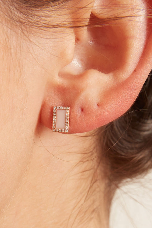 Pink Onyx and Pave Diamond Rectangle Earrings in Rose Gold