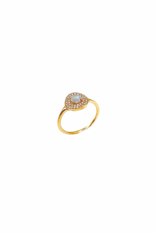Pave Diamond Disc Ring in Rose Gold