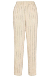 Pinstripe Elasticated Pants in Sand